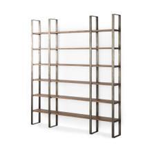 See Details - Taunton 80L x 10.5W x 90H Medium Brown Wood W/ Antique Nickel Metal Frame 6 Tier Shelving Unit