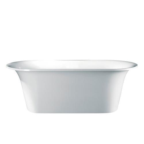 Monaco 68-5/8 Inch X 31-3/4 Inch Freestanding Soaking Bathtub in Volcanic Limestone™ with No Overflow Hole - Gloss White