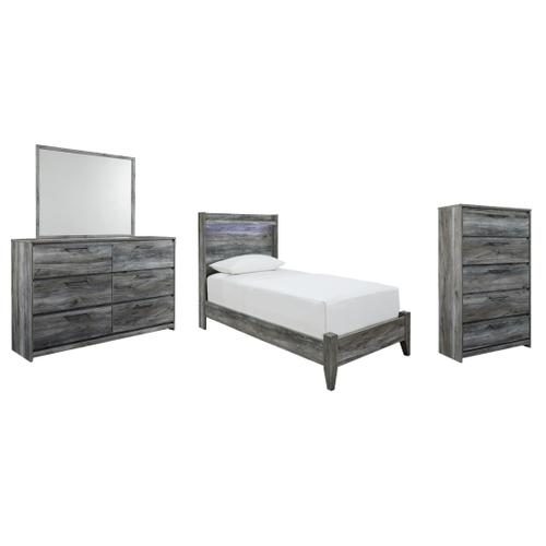 Product Image - Twin Panel Bed With Mirrored Dresser and Chest