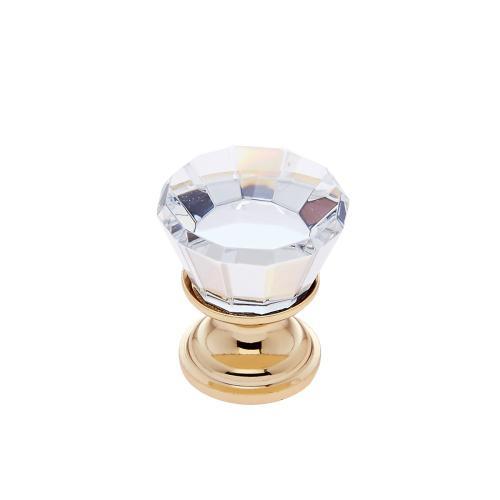 24k Gold 22 mm Flat Top Crystal Knob