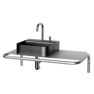 Aeri single shelf wall mount aluminum structure with integral towel bar. Product Image