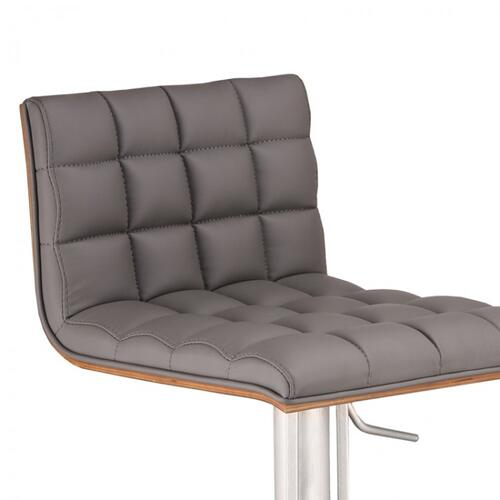 Armen Living Oslo Adjustable Brushed Stainless Steel Barstool in Gray Faux Leather with Walnut Back
