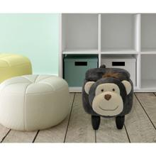"""Critter Sitters Plush Monkey Storage Animal Ottoman Furniture for Nursery, Bedroom, Playroom & Living Room Decor, 15"""" Seat Height, CSMKYSTOTT-DKGRY"""