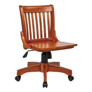 See Details - Deluxe Armless Wood Bankers Chair With Wood Seat (fruit Wood Finish)