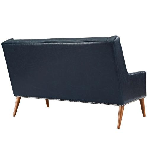 Peruse Upholstered Vinyl Loveseat in Blue
