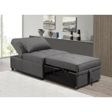 See Details - GREY LINEN PULL OUT CHAIR BED