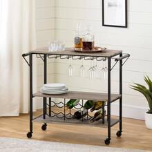 Bar Cart with Wine Bottle Storage and Wine Glass Rack - Weathered Oak and Matte Black
