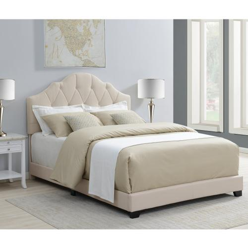Upholstered Camelback Queen Bed in Linen Beige
