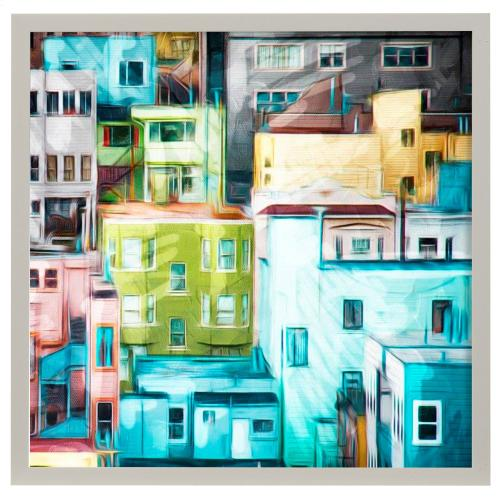 Style Craft - Looking at a Colorful City II  Made in USA  Artist Print  Faux Wood Frame Under Glass  Attached