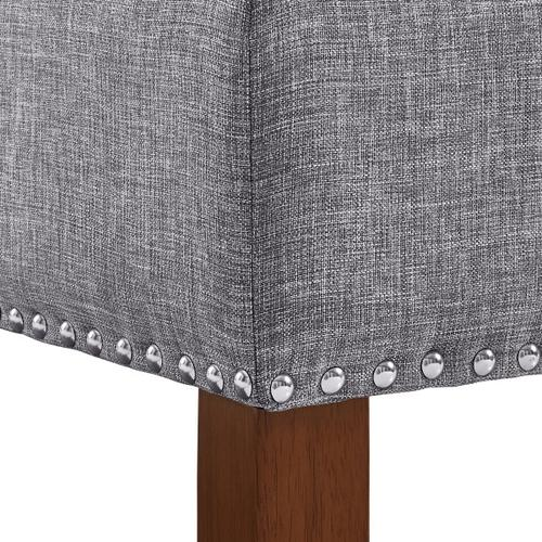 Hinged Top Button Tufted Storage Bed Bench in Ash Grey