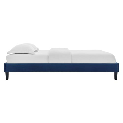 Reign Full Performance Velvet Platform Bed Frame in Navy