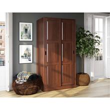 5663 - 100% Solid Wood 2-Sliding Door Wardrobe - Mocha