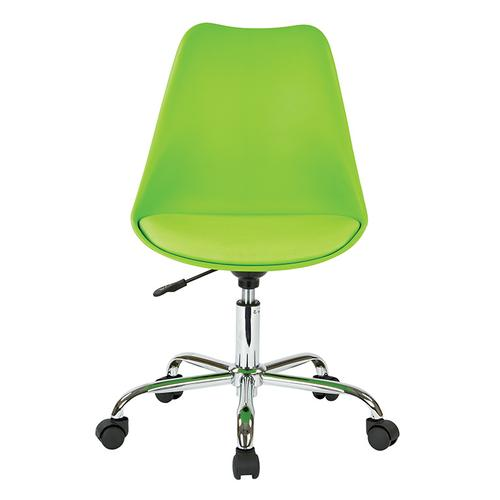 Emerson Student Office Chair With Pneumatic Chrome Base In Green Finish