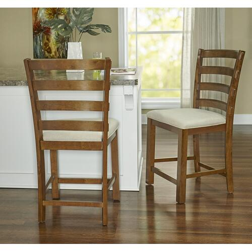 Upholstered Seat and Ladder Back Slats Counter Stool, Chestnut