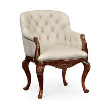 Chesterfield style armchair with cream leather