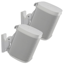White Wireless Speaker Swivel and Tilt Wall Mounts designed for Sonos ONE, Sonos One SL, Play:1, and Play:3