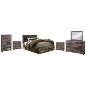 Queen Panel Bed With 6 Storage Drawers With Mirrored Dresser, Chest and 2 Nightstands