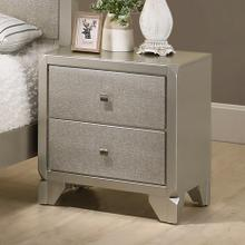 See Details - Keila Contemporary Champagne Silver Finish Wood 2-Drawer Nightstand