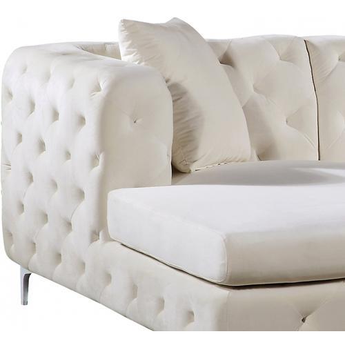 "Meridian Furniture - Gail Velvet 3pc. Sectional - 127"" W x 69.5"" D x 30.5"" H"