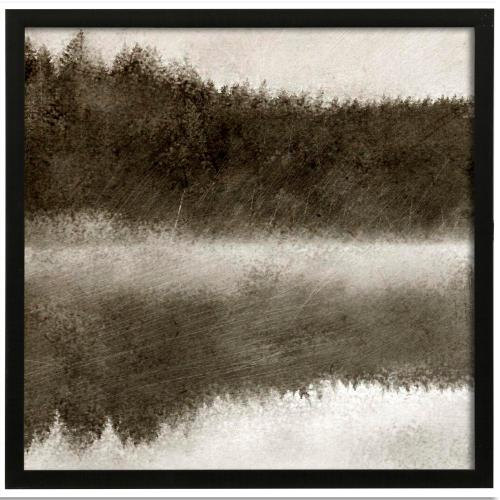 Style Craft - Misty Morning on the Lake I  Made in USA  Artist Print  Faux Wood Frame Under Glass  Attached Ha