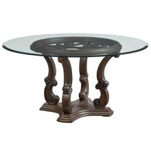"""View Product - Parliment 60"""" Round Table with Glass Top, Brown"""