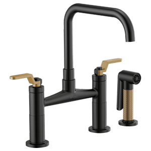 Bridge Faucet With Square Spout and Industrial Handle Product Image