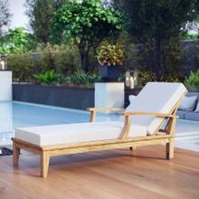 See Details - Marina Outdoor Patio Teak Single Chaise in Natural White