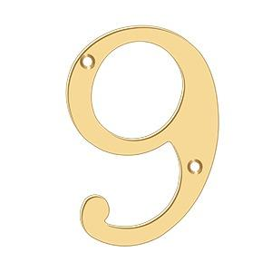 """Deltana - 6"""" Numbers, Solid Brass - PVD Polished Brass"""