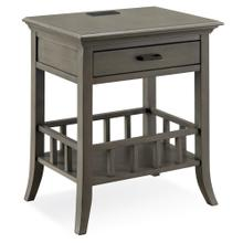 Basket Shelf Gray Night Stand/Side Table with Top AC/USB Charging #9070-GR