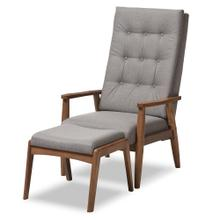 See Details - Baxton Studio Roxy Mid-Century Modern Walnut Wood Finishing and Grey Fabric Upholstered Button-Tufted High-Back Lounge Chair and Ottoman Set