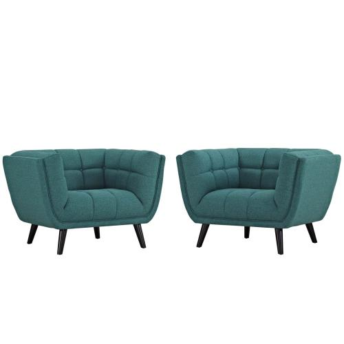 Bestow 2 Piece Upholstered Fabric Armchair Set in Teal