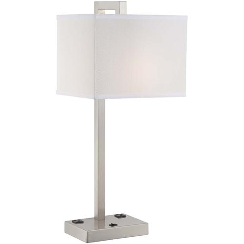 Table Lamp, Ps/white Fabric Shade, Outlet X2pcs, E27 Cfl 23w