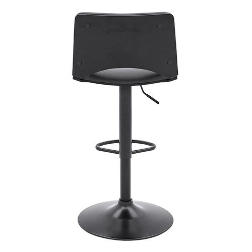 Armen Living - Thierry Adjustable Swivel Gray Faux Leather and Black Metal Bar Stool