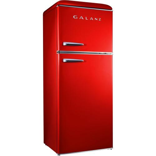 Galanz 10-Cu. Ft. Top Mount Retro-Style Refrigerator in Red