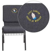 Embroidered HERCULES Series 18.5''W Dark Gray Fabric Church Chair with 4.25'' Thick Seat, Book Rack - Silver Vein Frame