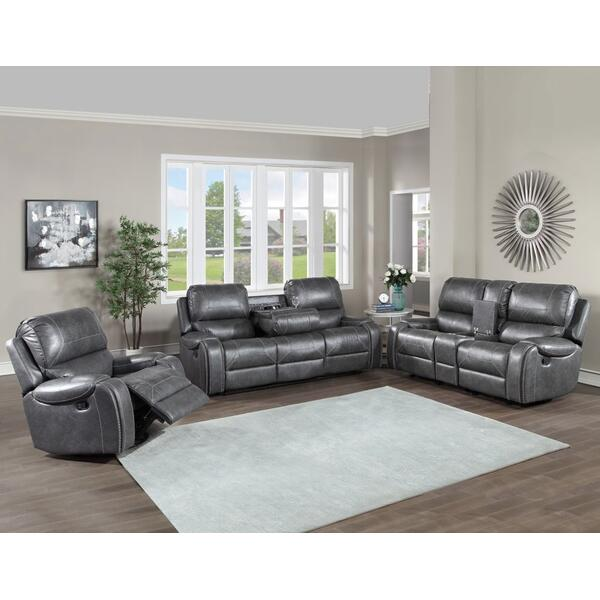 Keily Grey 3 Piece Manual Motion Set (Sofa, Loveseat & Chair)