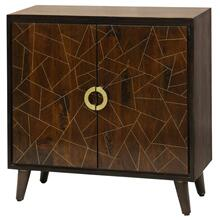 Geometric Pattern 2 Door Cabinet Made of Solid Mango Wood