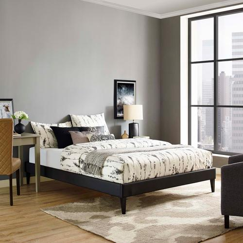 Modway - Tessie King Vinyl Bed Frame with Squared Tapered Legs in Black