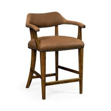 See Details - Walnut Library Counter Stool, Upholstered in Light Brown Leather