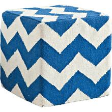 See Details - Alliaria VII Blue/White Wool Zig-Zag Pattern Sqaure Pouf