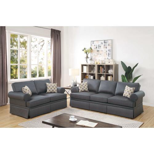 Gallery - Martina 2pc Loveseat & Sofa Set, Charcoal-glossy