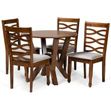 See Details - Baxton Studio Ariane Modern and Contemporary Grey Fabric Upholstered and Walnut Brown Finished Wood 5-Piece Dining Set