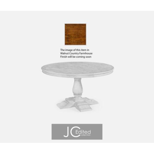 Round extending dining table in country walnut