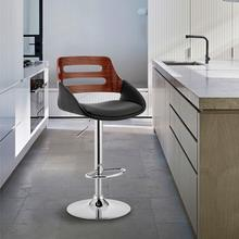 View Product - Karter Adjustable Black Faux Leather and Walnut Wood Bar Stool with Chrome Base