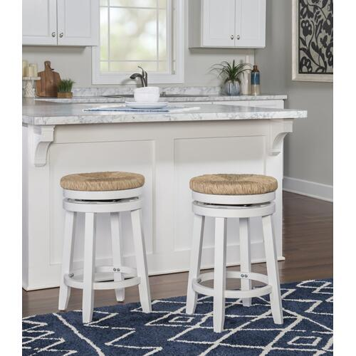 Natural Seagrass Swivel Seat Counter Stool, White