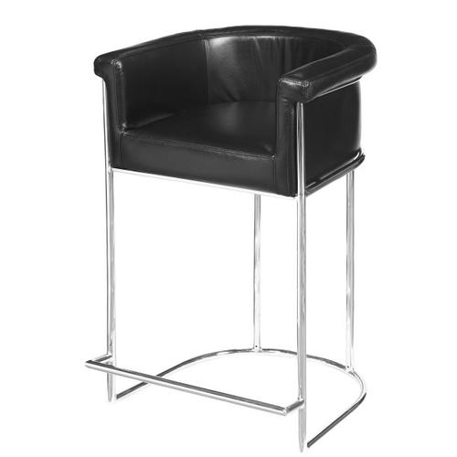 Barrel-Style Modern Upholstered Bar Stool in Black