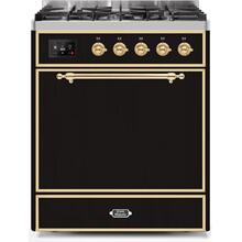 Majestic II 30 Inch Dual Fuel Liquid Propane Freestanding Range in Glossy Black with Brass Trim