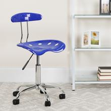 View Product - Vibrant Nautical Blue and Chrome Swivel Task Office Chair with Tractor Seat
