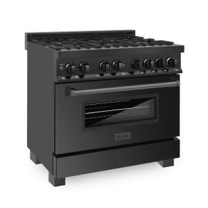 """Zline KitchenZLINE 36"""" Black Stainless 4.6 cu.ft. 6 Gas Burner/Electric Oven Range (RAB-36)"""