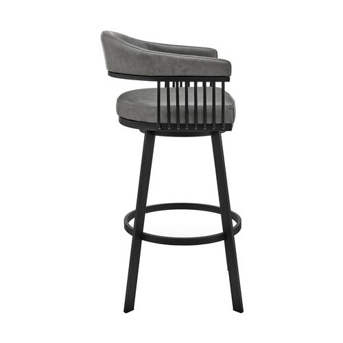 """Armen Living - Chelsea 26"""" Counter Height Swivel Bar Stool in Black Finish and Gray Faux Leather"""